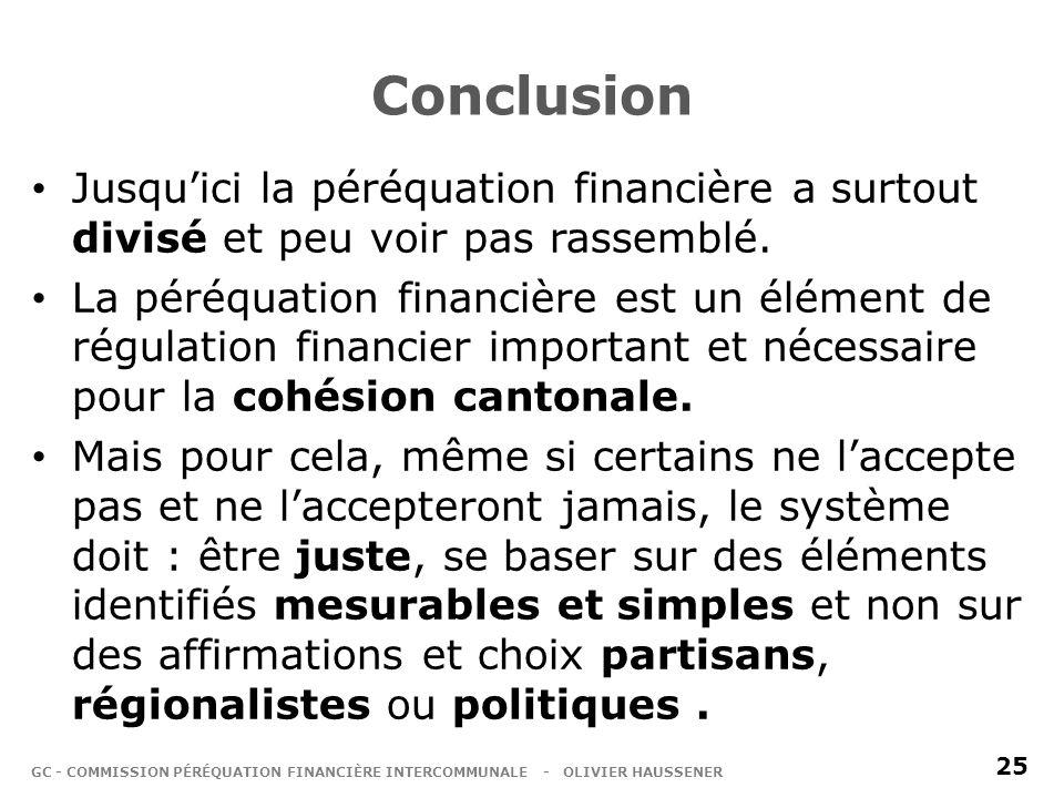 Conclusion Jusquici la péréquation financière a surtout divisé et peu voir pas rassemblé.
