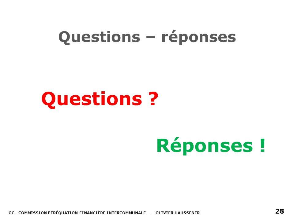 Questions – réponses Questions . Réponses .