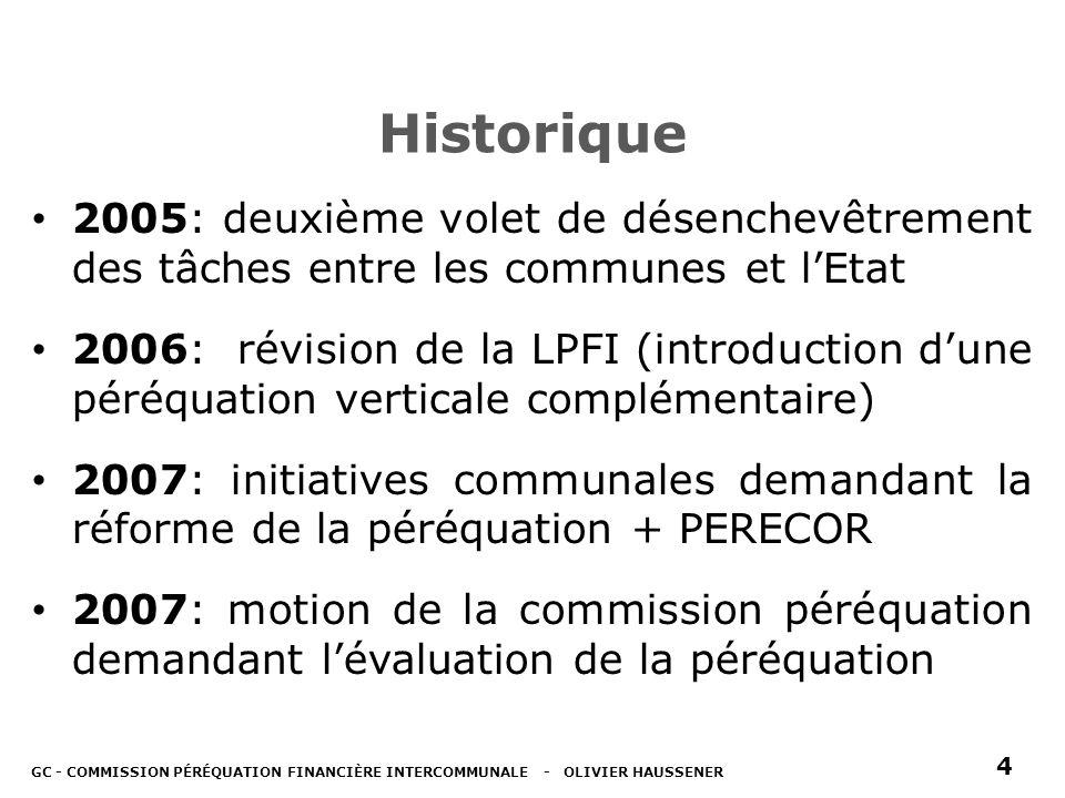 Historique 2005: deuxième volet de désenchevêtrement des tâches entre les communes et lEtat 2006: révision de la LPFI (introduction dune péréquation verticale complémentaire) 2007: initiatives communales demandant la réforme de la péréquation + PERECOR 2007: motion de la commission péréquation demandant lévaluation de la péréquation GC - COMMISSION PÉRÉQUATION FINANCIÈRE INTERCOMMUNALE - OLIVIER HAUSSENER 4