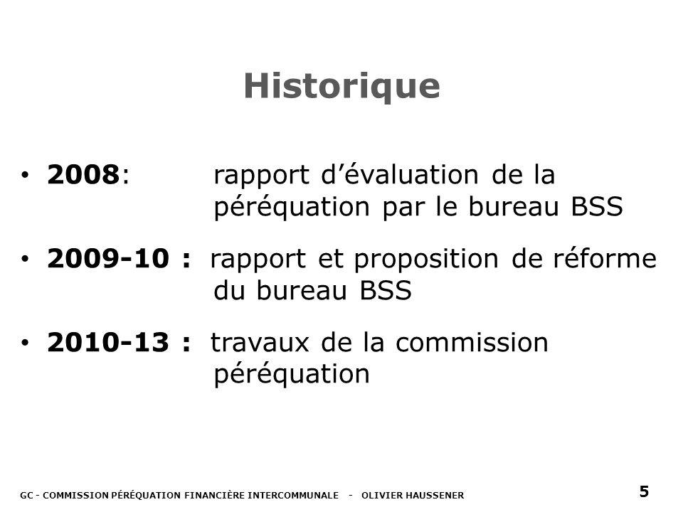 Historique 2008: rapport dévaluation de la péréquation par le bureau BSS 2009-10 : rapport et proposition de réforme du bureau BSS 2010-13 : travaux de la commission péréquation GC - COMMISSION PÉRÉQUATION FINANCIÈRE INTERCOMMUNALE - OLIVIER HAUSSENER 5