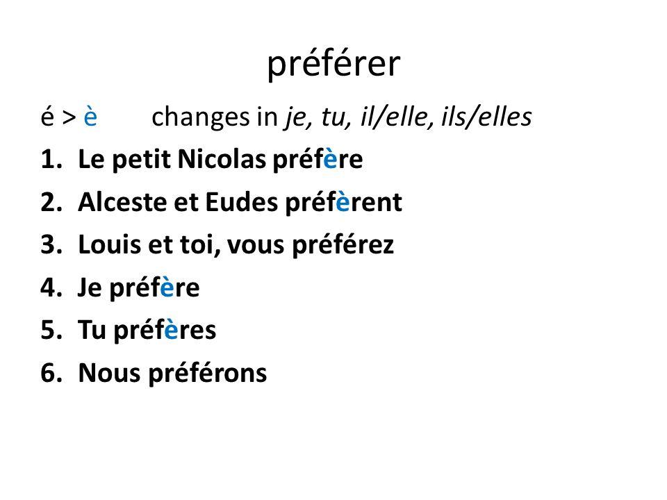 préférer é > è changes in je, tu, il/elle, ils/elles 1.Le petit Nicolas préfère 2.Alceste et Eudes préfèrent 3.Louis et toi, vous préférez 4.Je préfère 5.Tu préfères 6.Nous préférons