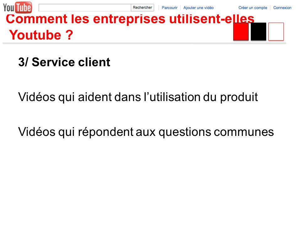 Comment les entreprises utilisent-elles Youtube ? 3/ Service client Vidéos qui aident dans lutilisation du produit Vidéos qui répondent aux questions
