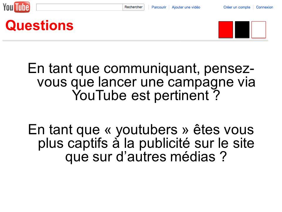 Questions En tant que communiquant, pensez- vous que lancer une campagne via YouTube est pertinent ? En tant que « youtubers » êtes vous plus captifs