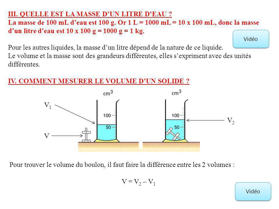 III. QUELLE EST LA MASSE DUN LITRE DEAU ? La masse de 100 mL deau est 100 g. Or 1 L = 1000 mL = 10 x 100 mL, donc la masse dun litre deau est 10 x 100