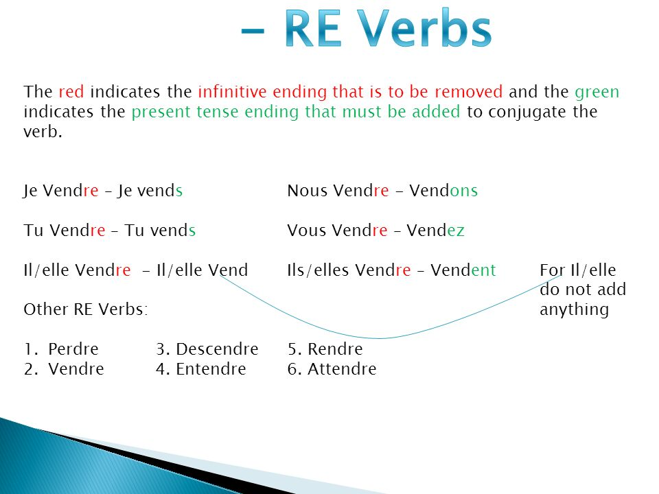 The red indicates the infinitive ending that is to be removed and the green indicates the present tense ending that must be added to conjugate the verb.