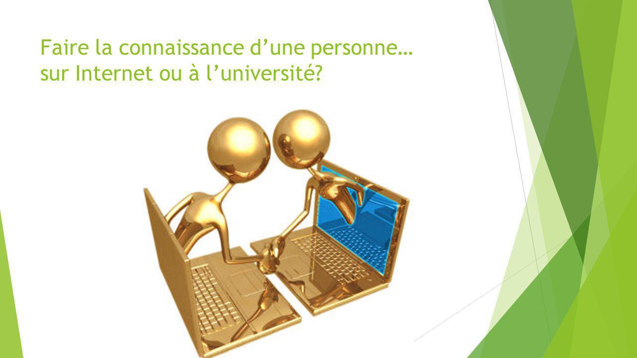 Faire la connaissance dune personne… sur Internet ou à luniversité?