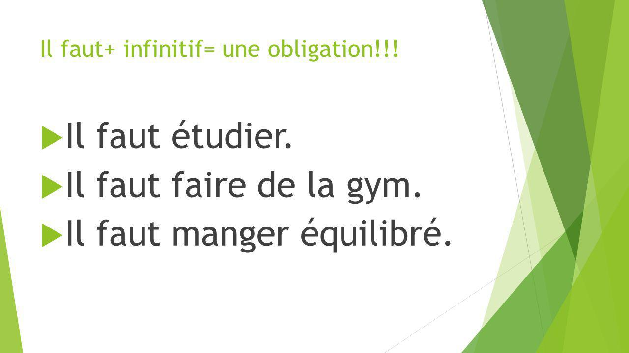 Il faut+ infinitif= une obligation!!! Il faut étudier. Il faut faire de la gym. Il faut manger équilibré.