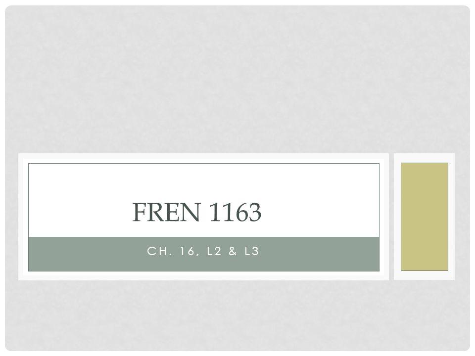 CH. 16, L2 & L3 FREN 1163