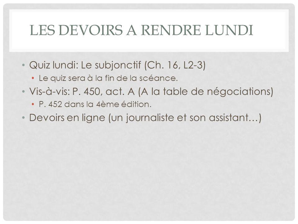 LES DEVOIRS A RENDRE LUNDI Quiz lundi: Le subjonctif (Ch.