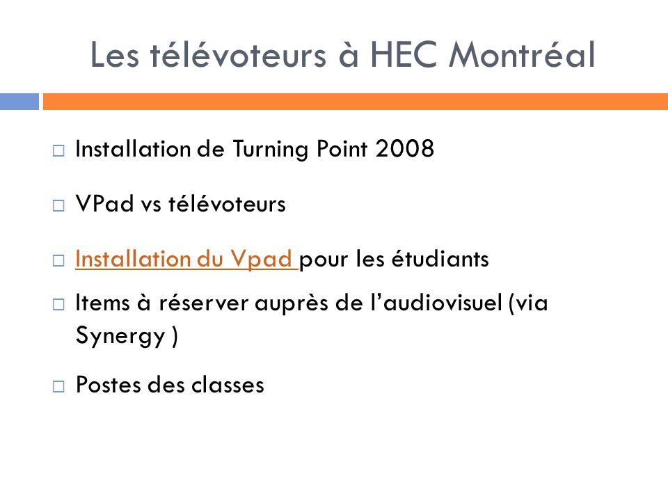 Les télévoteurs à HEC Montréal Installation de Turning Point 2008 VPad vs télévoteurs Installation du Vpad pour les étudiants Installation du Vpad Items à réserver auprès de laudiovisuel (via Synergy ) Postes des classes