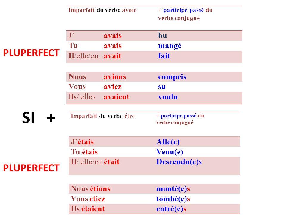 VERBES REFLEXIFS Imparfait duverbe être + participe passé du verbe conjugué JemétaisInstallé(e) Tutétaissauvé(e) Il/ elle/ on sétait lavé (e)s Nousnousétions vus vous étiezcoiffé(e)(s) Ils/ ellessétaientbaigné(e)s SI + PLUPERFECT