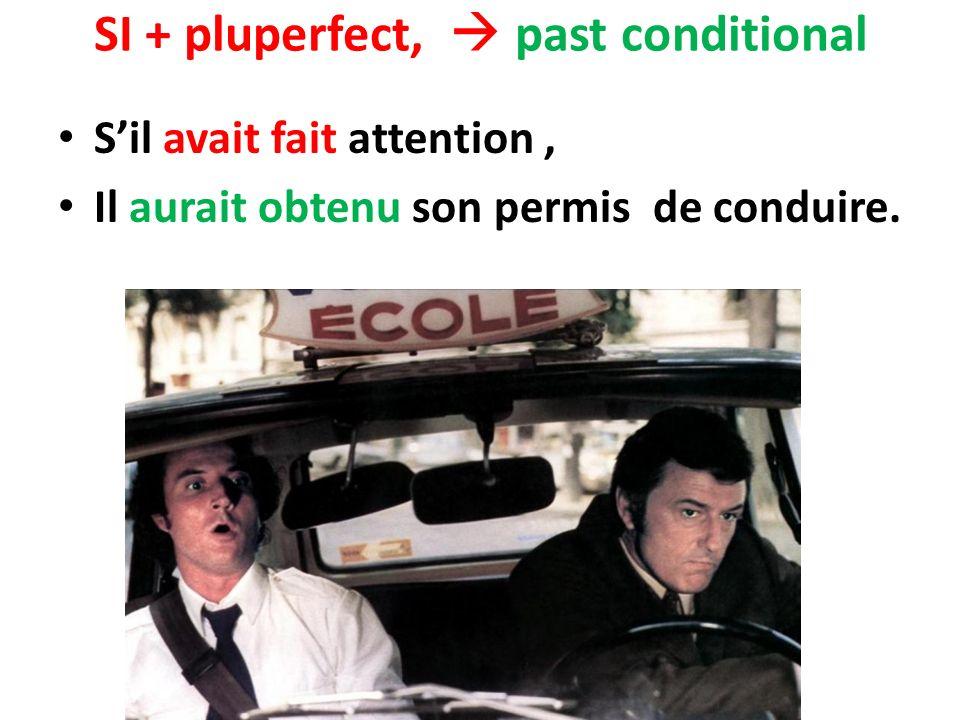 SI + pluperfect, past conditional Sil avait fait attention, Il aurait obtenu son permis de conduire.