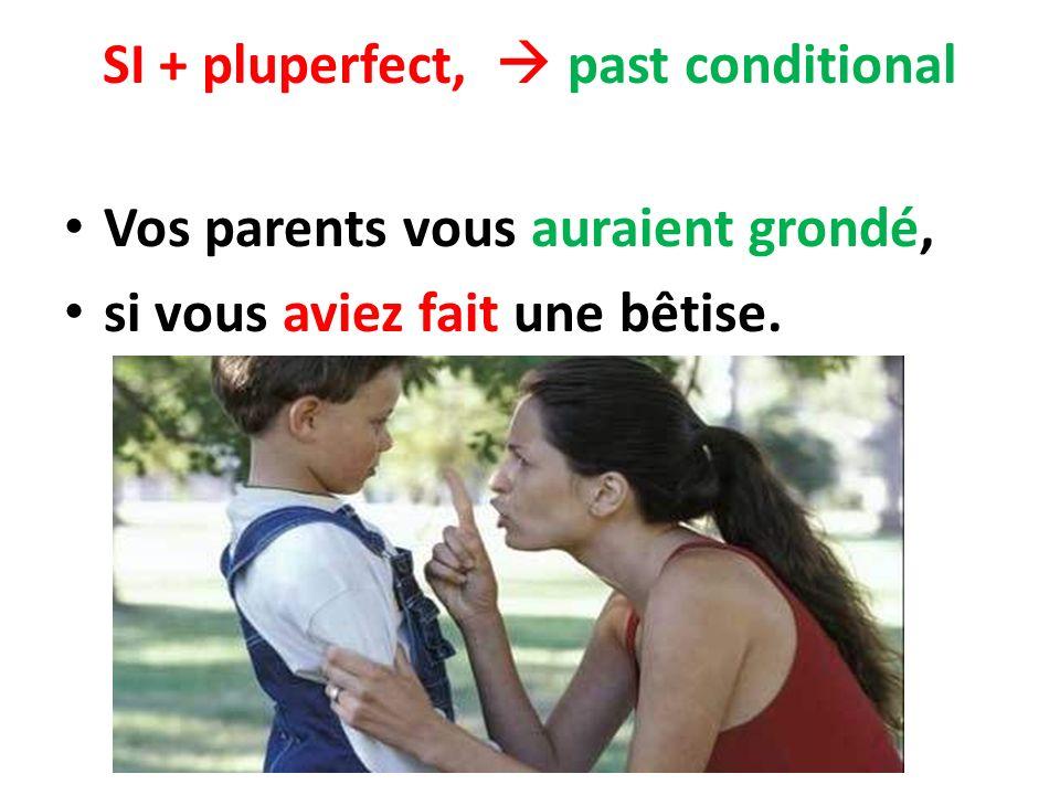 SI + pluperfect, past conditional Vos parents vous auraient grondé, si vous aviez fait une bêtise.