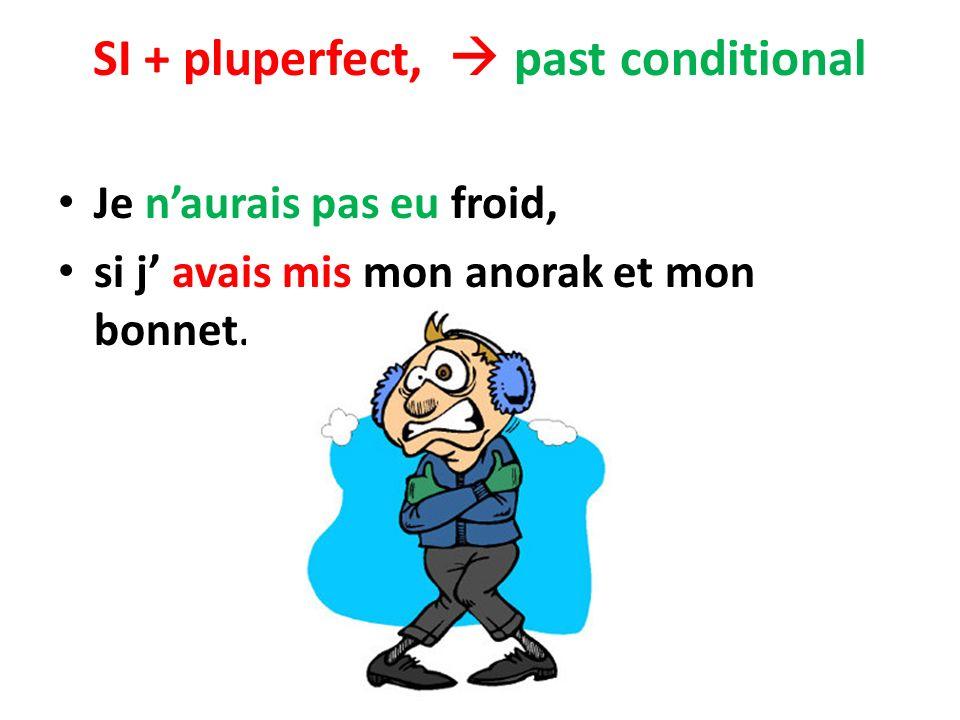 SI + pluperfect, past conditional Je naurais pas eu froid, si j avais mis mon anorak et mon bonnet.
