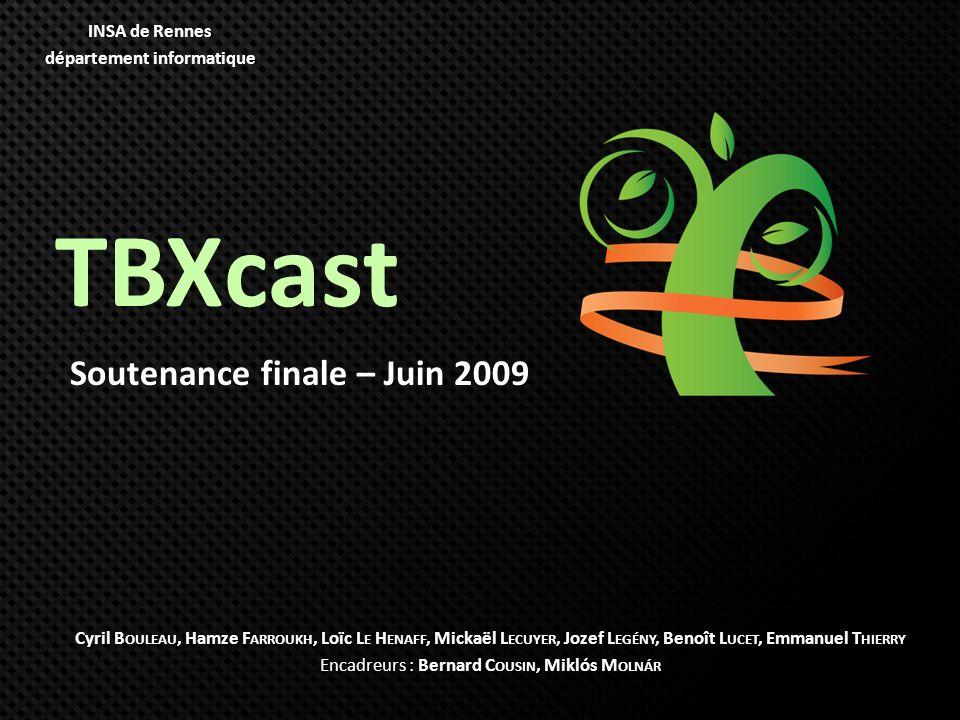 TBXcast Soutenance finale – Juin 2009 Cyril B OULEAU, Hamze F ARROUKH, Loïc L E H ENAFF, Mickaël L ECUYER, Jozef L EGÉNY, Benoît L UCET, Emmanuel T HI