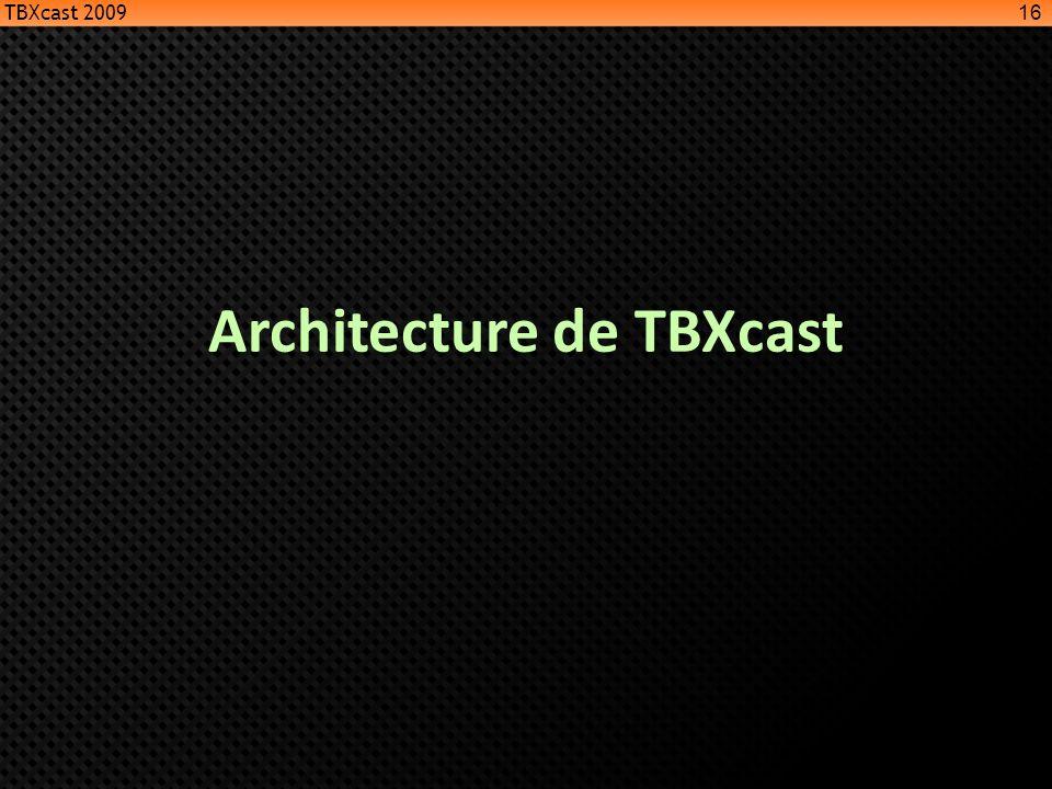Architecture de TBXcast 16 TBXcast 2009