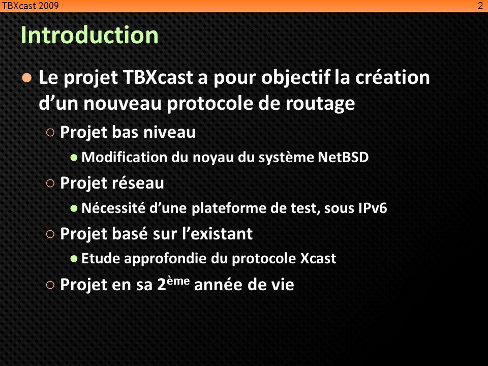 Introduction Le projet TBXcast a pour objectif la création dun nouveau protocole de routage Projet bas niveau Modification du noyau du système NetBSD
