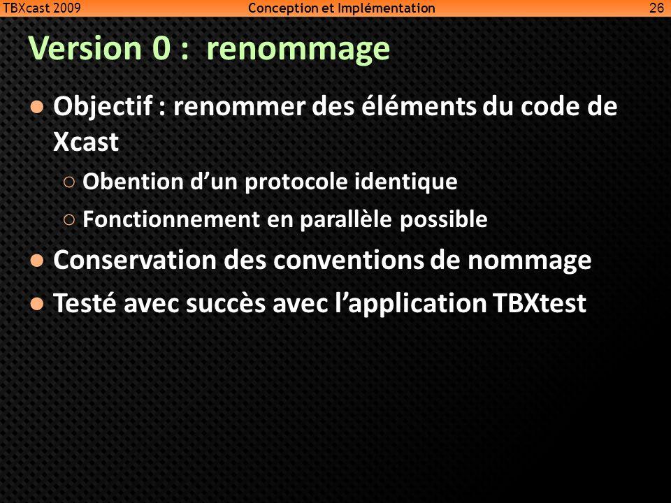 Version 0 : renommage Objectif : renommer des éléments du code de Xcast Obention dun protocole identique Fonctionnement en parallèle possible Conserva