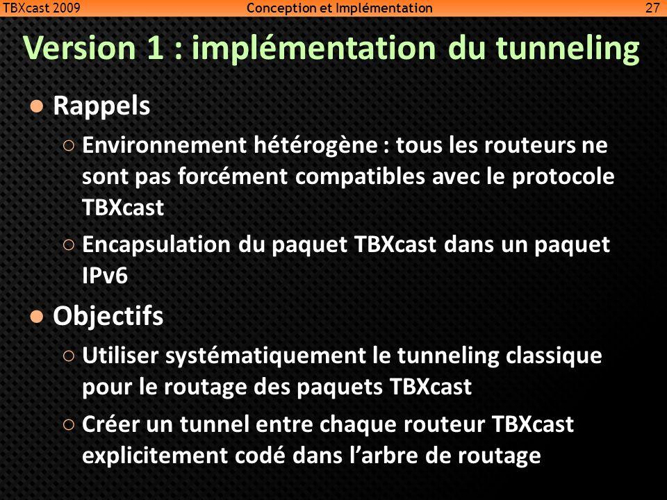 Version 1 : implémentation du tunneling Rappels Environnement hétérogène : tous les routeurs ne sont pas forcément compatibles avec le protocole TBXca