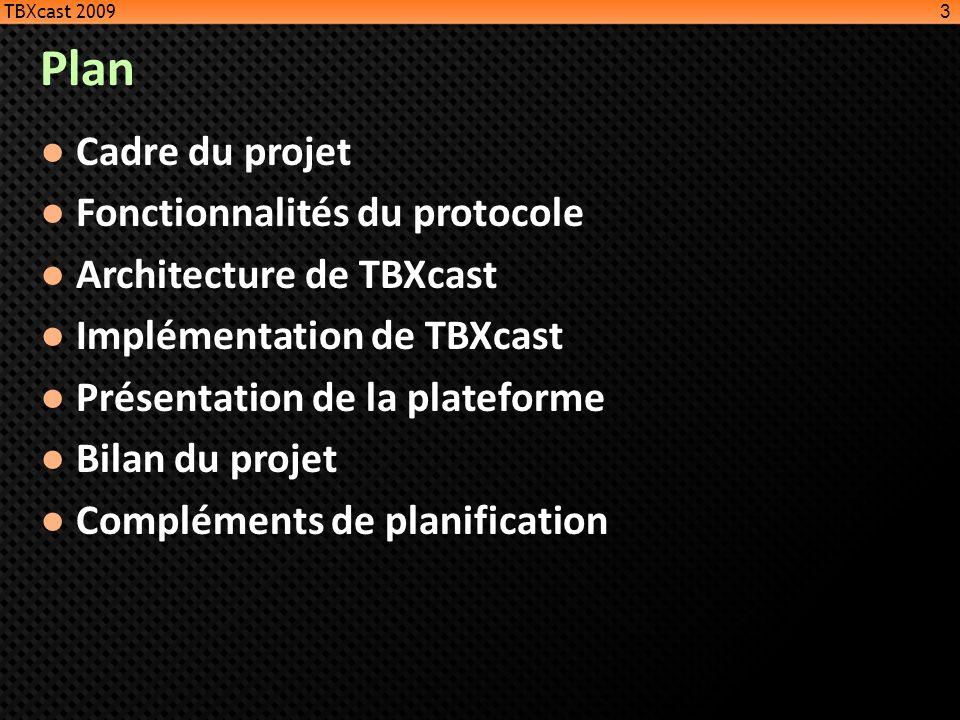 Plan Cadre du projet Fonctionnalités du protocole Architecture de TBXcast Implémentation de TBXcast Présentation de la plateforme Bilan du projet Comp
