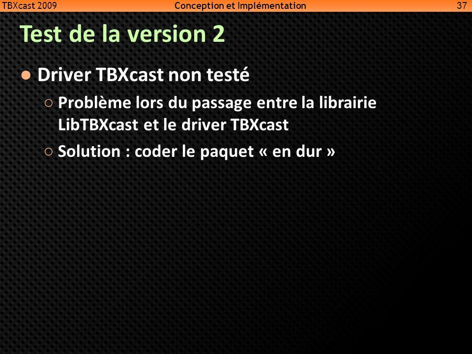 Test de la version 2 Driver TBXcast non testé Problème lors du passage entre la librairie LibTBXcast et le driver TBXcast Solution : coder le paquet «
