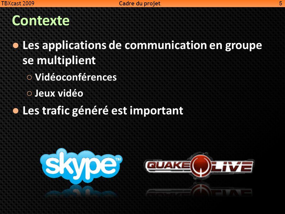 Contexte Les applications de communication en groupe se multiplient Vidéoconférences Jeux vidéo Les trafic généré est important 5 TBXcast 2009 Cadre d