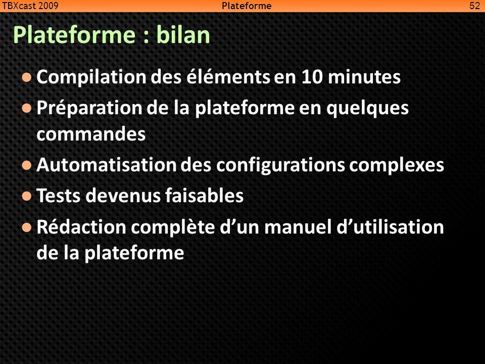 Plateforme : bilan Compilation des éléments en 10 minutes Préparation de la plateforme en quelques commandes Automatisation des configurations complex