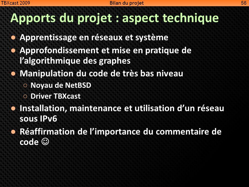 Apports du projet : aspect technique Apprentissage en réseaux et système Approfondissement et mise en pratique de lalgorithmique des graphes Manipulat