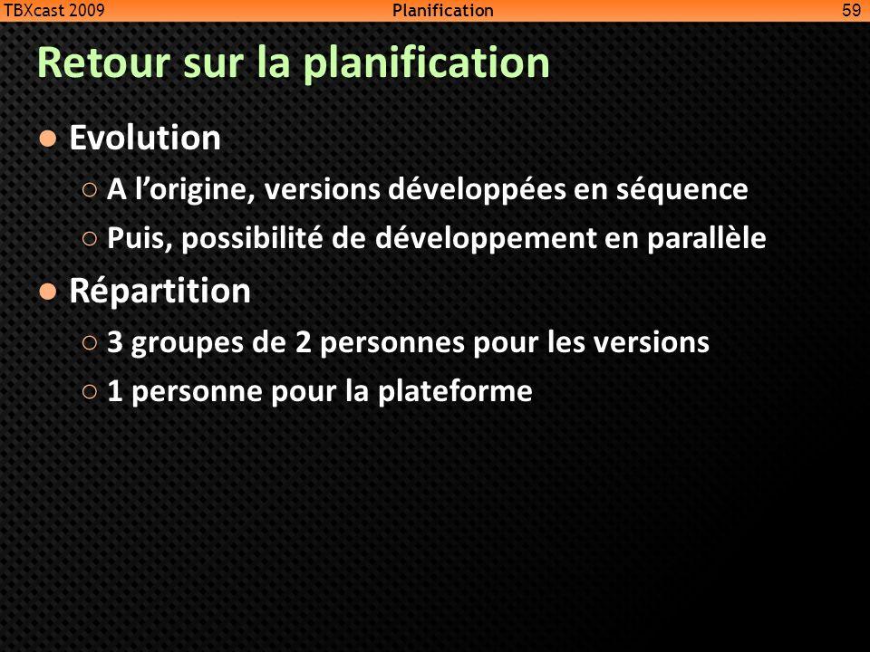 Retour sur la planification Evolution A lorigine, versions développées en séquence Puis, possibilité de développement en parallèle Répartition 3 group