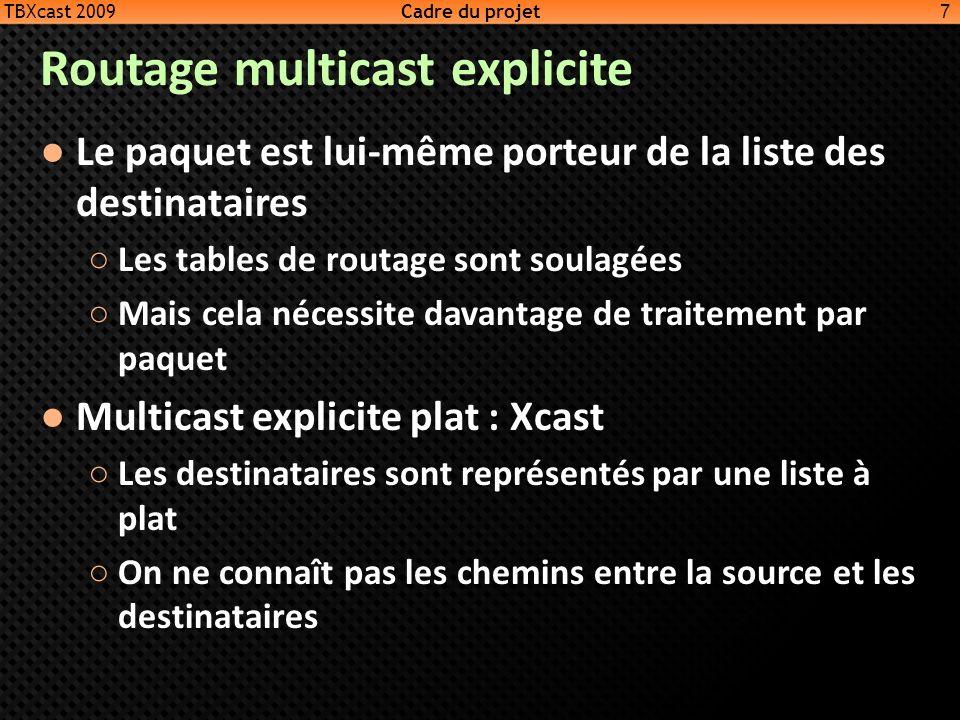 Routage multicast explicite Le paquet est lui-même porteur de la liste des destinataires Les tables de routage sont soulagées Mais cela nécessite dava