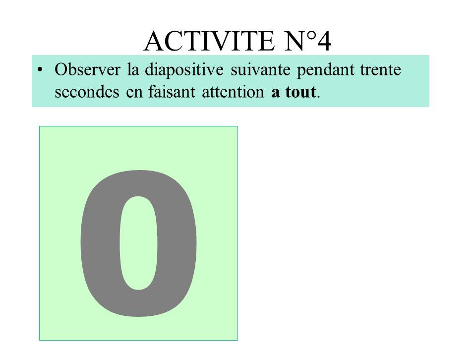 ACTIVITE N°4 543210 Observer la diapositive suivante pendant trente secondes en faisant attention a tout.