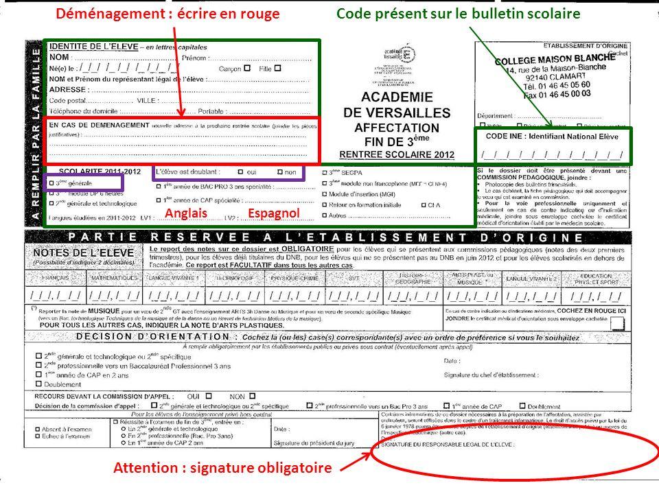 Code présent sur le bulletin scolaire AnglaisEspagnol Attention : signature obligatoire Déménagement : écrire en rouge