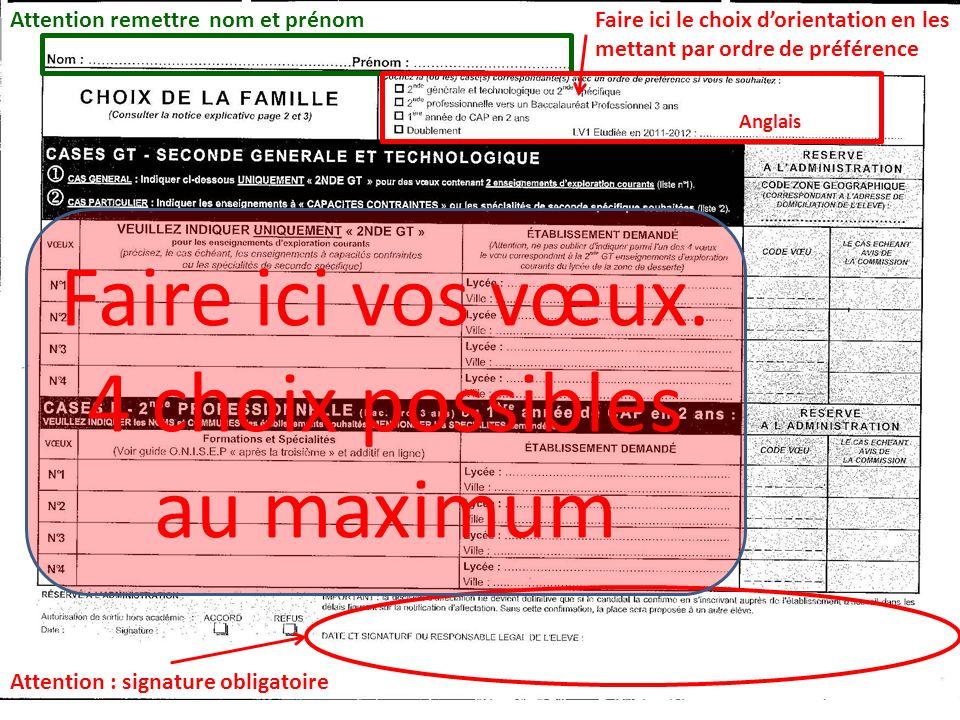 1 er Exemple: 4 demandes de 2 NDE GT On peut se contenter de 2 vœux mais les 2 lycées de secteur obligatoirement Faire ici le choix dorientation en les mettant par ordre de préférence Anglais Attention : signature obligatoire X 2 NDE GT- Européenne espagnol 2 NDE GT MONOD CLAMART MONOD CLAMART RABELAIS MEUDON IONESCO ISSY LES MOULINEAUX Attention, nindiquer que 2 vœux contraints ou section européenne et en N°1 et N°2.