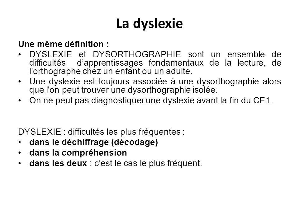 La dyslexie Une même définition : DYSLEXIE et DYSORTHOGRAPHIE sont un ensemble de difficultés dapprentissages fondamentaux de la lecture, de lorthogra