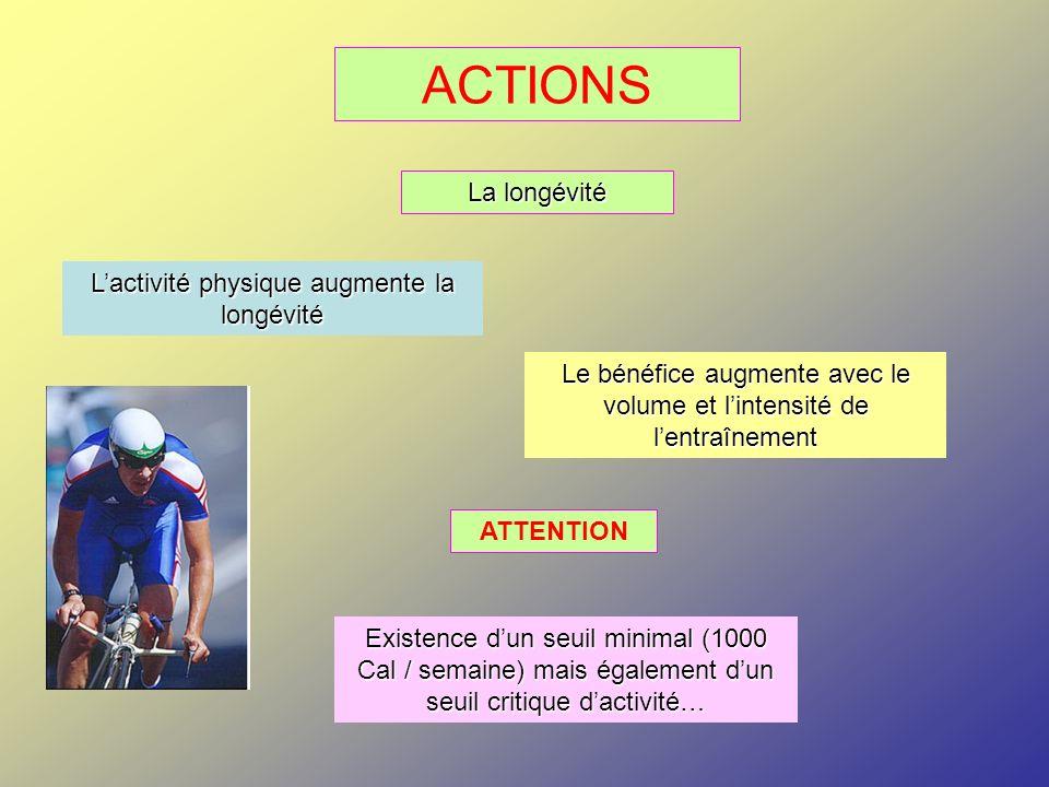ACTIONS La longévité Lactivité physique augmente la longévité Le bénéfice augmente avec le volume et lintensité de lentraînement ATTENTION Existence d