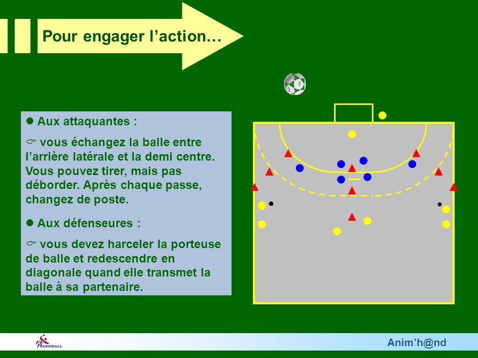 Animh@nd Aux attaquantes : vous échangez la balle entre larrière latérale et la demi centre. Vous pouvez tirer, mais pas déborder. Après chaque passe,