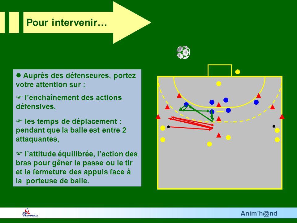 Animh@nd Auprès des défenseures, portez votre attention sur : lenchaînement des actions défensives, les temps de déplacement : pendant que la balle est entre 2 attaquantes, lattitude équilibrée, laction des bras pour gêner la passe ou le tir et la fermeture des appuis face à la porteuse de balle.