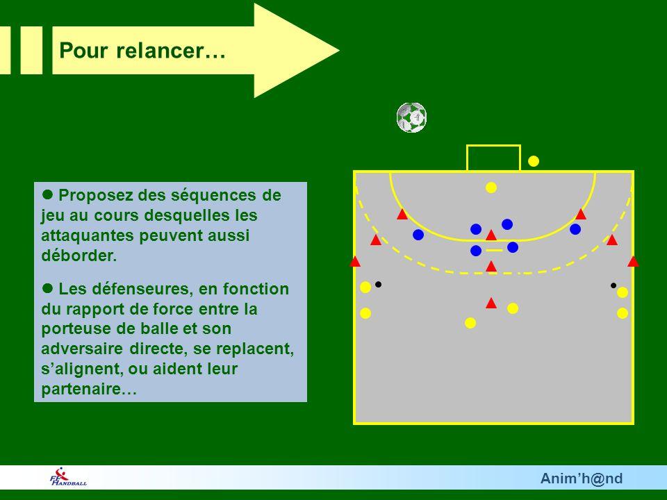 Animh@nd Proposez des séquences de jeu au cours desquelles les attaquantes peuvent aussi déborder. Les défenseures, en fonction du rapport de force en