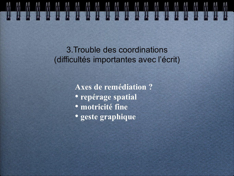 3.Trouble des coordinations (difficultés importantes avec lécrit) Axes de remédiation ? repérage spatial motricité fine geste graphique