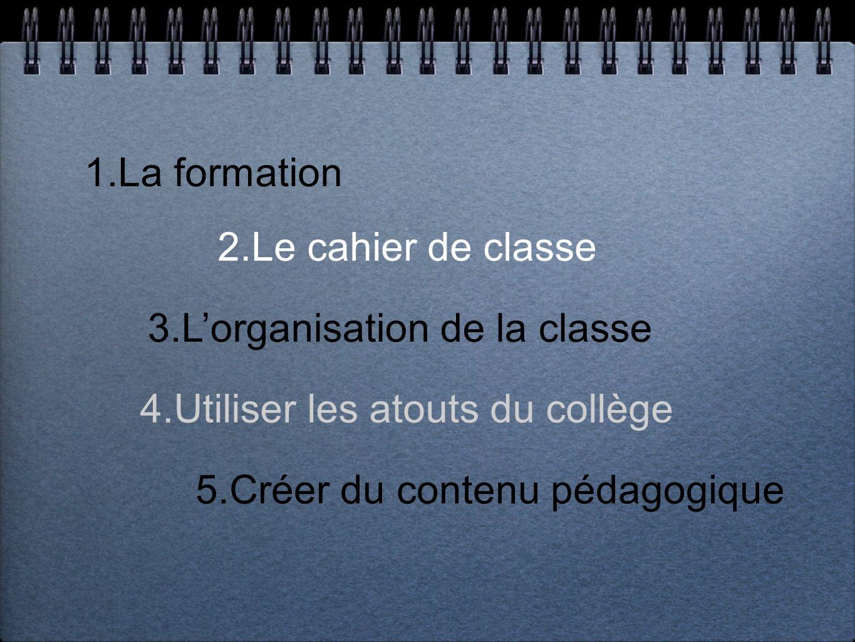 1.La formation 2.Le cahier de classe 4.Utiliser les atouts du collège 3.Lorganisation de la classe 5.Créer du contenu pédagogique