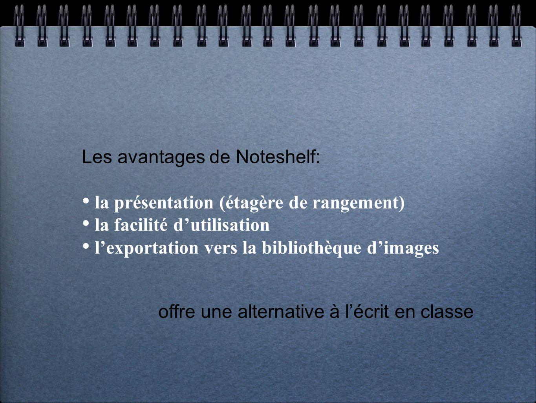 Les avantages de Noteshelf: la présentation (étagère de rangement) la facilité dutilisation lexportation vers la bibliothèque dimages offre une alternative à lécrit en classe