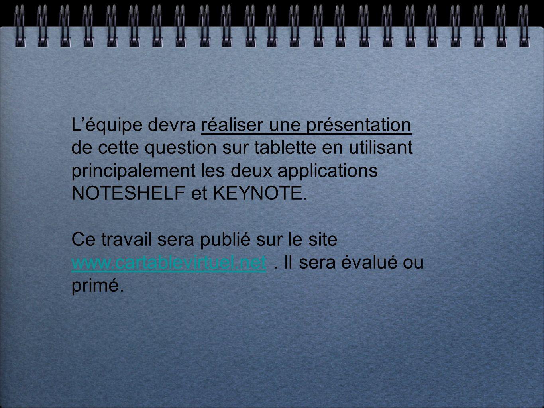 Léquipe devra réaliser une présentation de cette question sur tablette en utilisant principalement les deux applications NOTESHELF et KEYNOTE. Ce trav