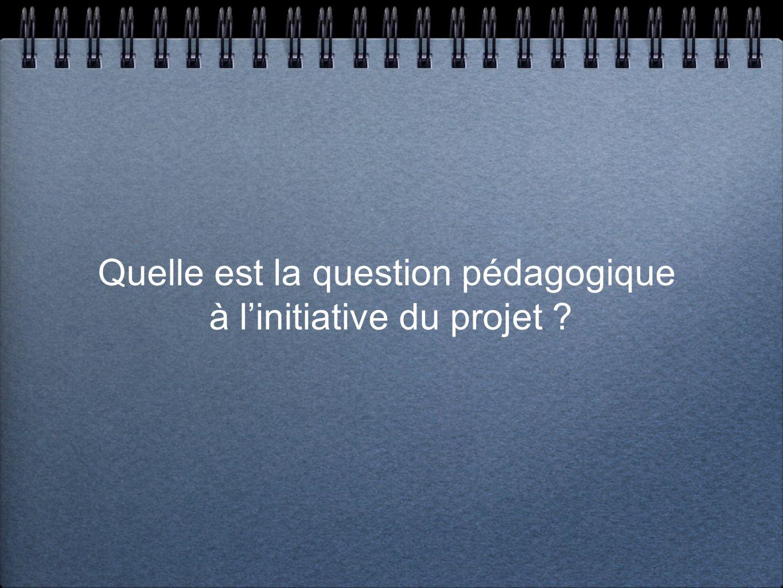 Quelle est la question pédagogique à linitiative du projet ?