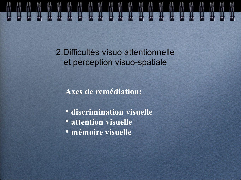 2.Difficultés visuo attentionnelle et perception visuo-spatiale Axes de remédiation: discrimination visuelle attention visuelle mémoire visuelle