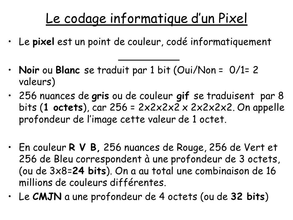 Le codage informatique dun Pixel Le pixel est un point de couleur, codé informatiquement __________ Noir ou Blanc se traduit par 1 bit (Oui/Non = 0/1=