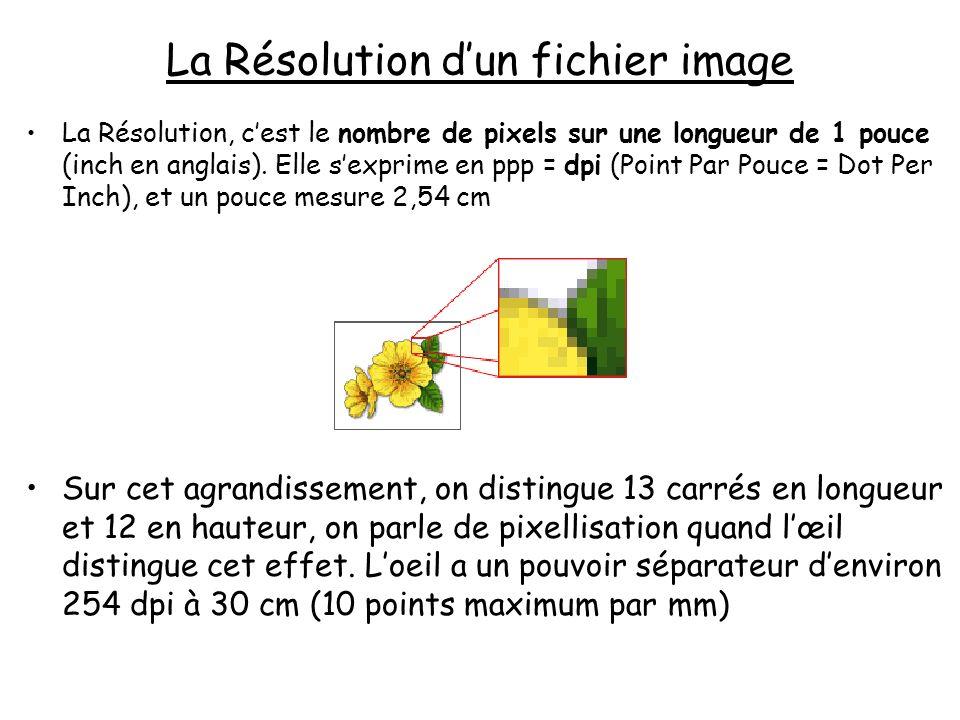 La Taille informatique dun fichier image L : Longueur en pixel = résolution en dpi x longueur en inch H : Hauteur en pixel = résolution en dpi x hauteur en inch P : Profondeur en octet = 1 (gris), 3 (RVB) ou 4 (CMJN) Le Poids (ou taille du fichier en octets) = L x H x P pour les fichiers « pixels ou bitmap » non compressés (taille plus faible pour les images « vectorielles ») Exemple L = 1200 pixels, H = 800 pixels, en RVB Poids du fichier bmp = 3 Mo (1200x800x3 octets) La même image pèsera environ 1,5 Mo en TIFF (compression sans perte) et 0,5 Mo en JPEG (compression avec perte) * Attention : Quand pour un Appareil Numérique, on parle de 4 Mega Pixels, il sagit juste du produit L x H (taille au sens surface)