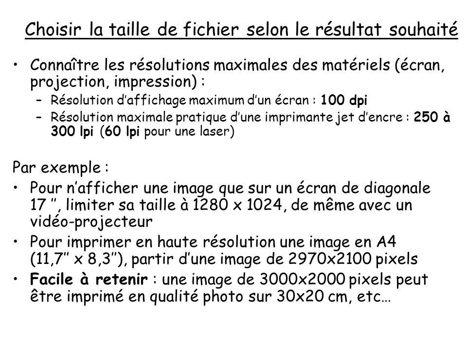 Choisir la taille de fichier selon le résultat souhaité Connaître les résolutions maximales des matériels (écran, projection, impression) : –Résolutio