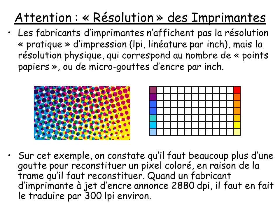 Attention : « Résolution » des Imprimantes Les fabricants dimprimantes naffichent pas la résolution « pratique » dimpression (lpi, linéature par inch)