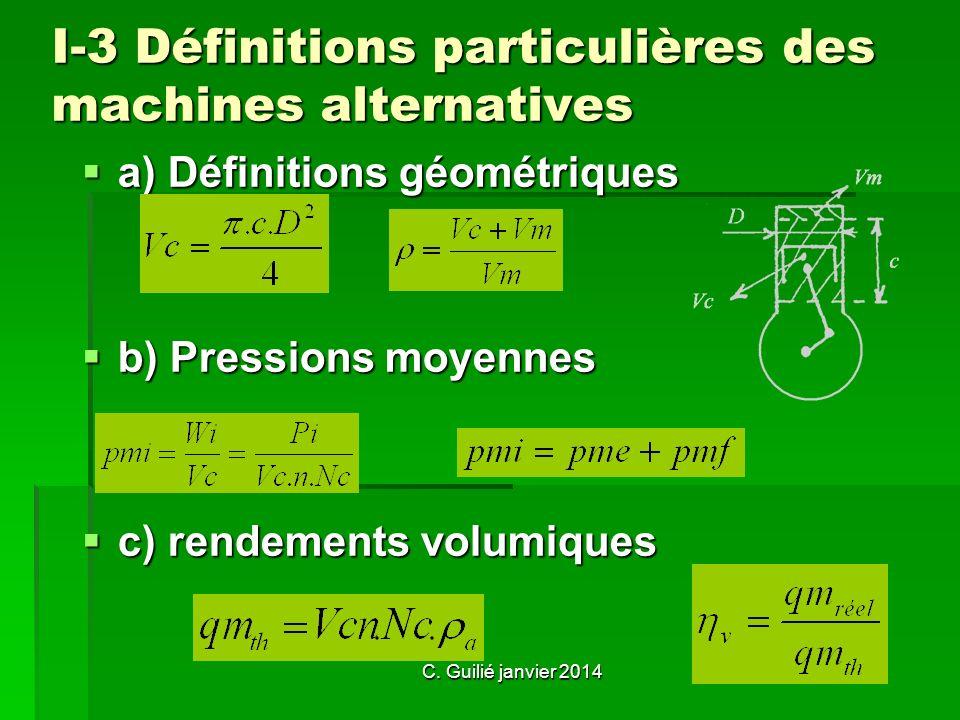 C. Guilié janvier 2014 I-3 Définitions particulières des machines alternatives a) Définitions géométriques b) Pressions moyennes c) rendements volumiq
