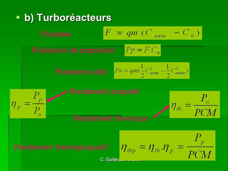 b) Turboréacteurs Poussée: Puissance de propulsion: Puissance utile: Rendement propulsif Rendement thermique Rendement thermopropulsif: